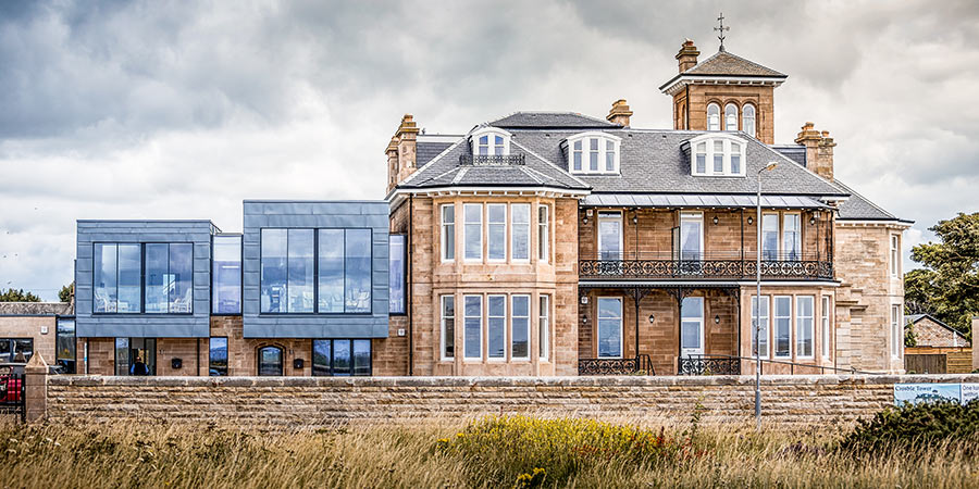 This project incorporates a stunning contemporary extension into a historic home in Scotland.